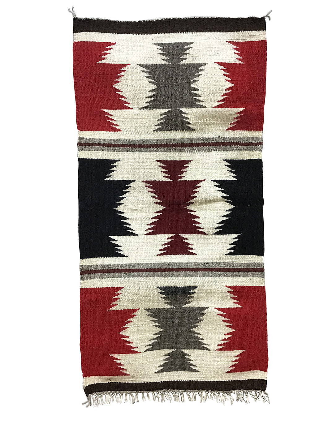 "Gallup Throw Rug, Navajo Handwoven, Wool, Cotton, 37 1/2"" x 19"""