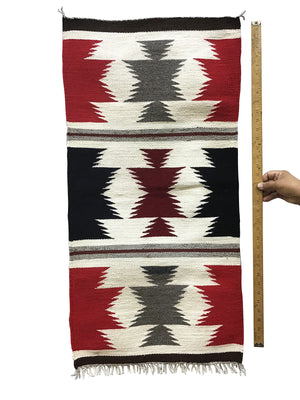 "Load image into Gallery viewer, Gallup Throw Rug, Navajo Handwoven, Wool, Cotton, 37 1/2"" x 19"""