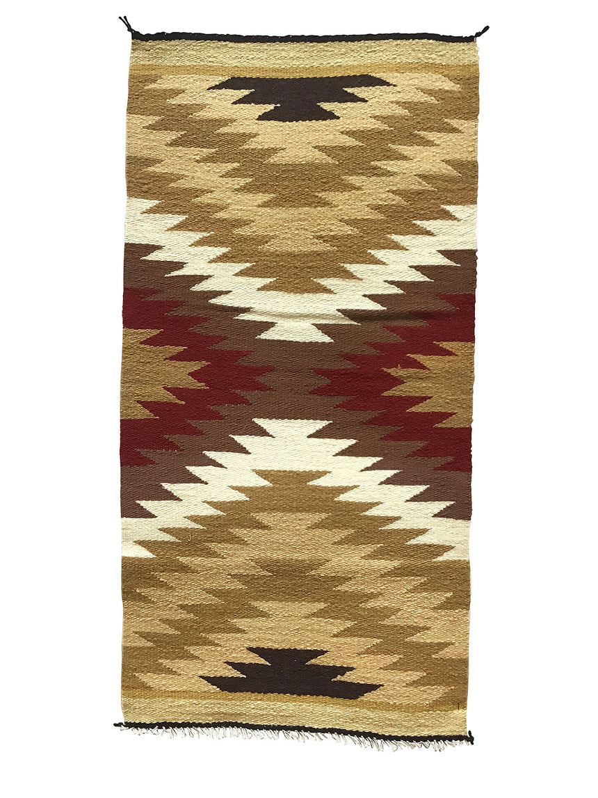 "Gallup Throw Rug, Navajo Handwoven, Wool, Cotton, 39 1/2"" x 20"""