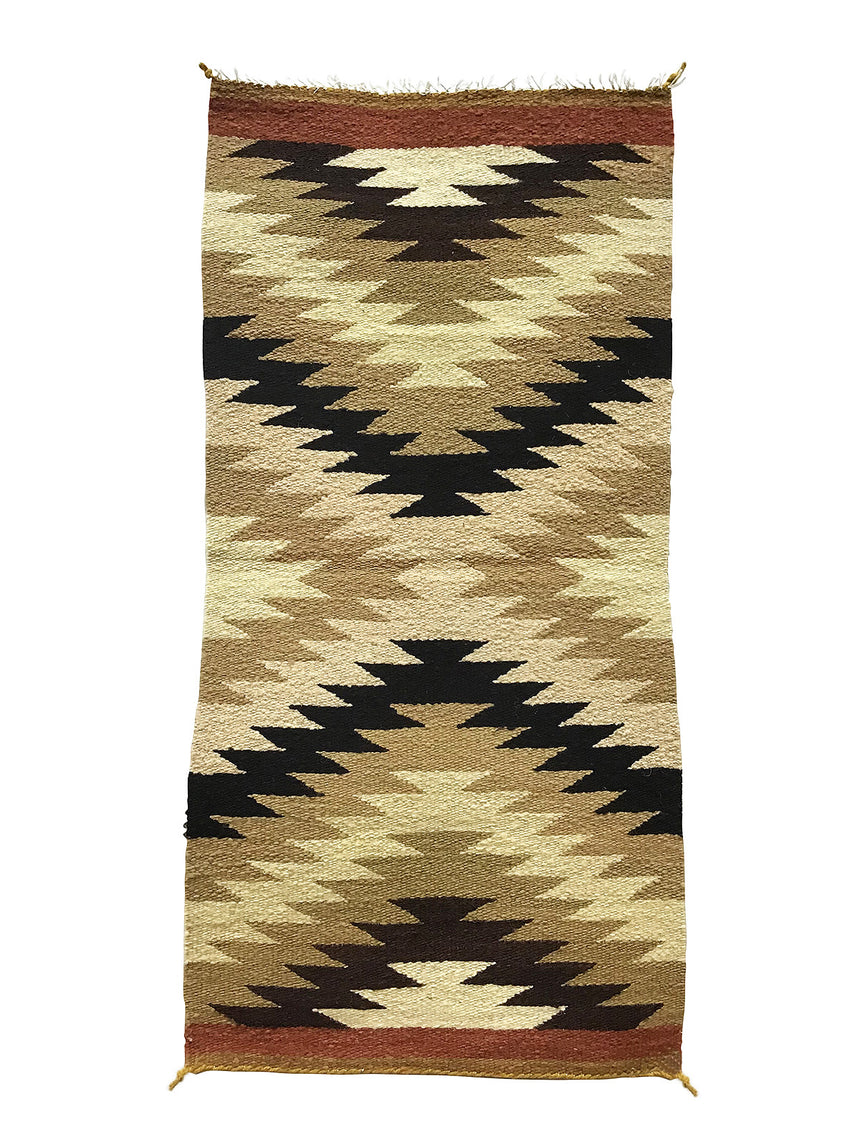 "Gallup Throw Rug, Navajo Handwoven, Wool, Cotton, 39 1/2"" x 19"""
