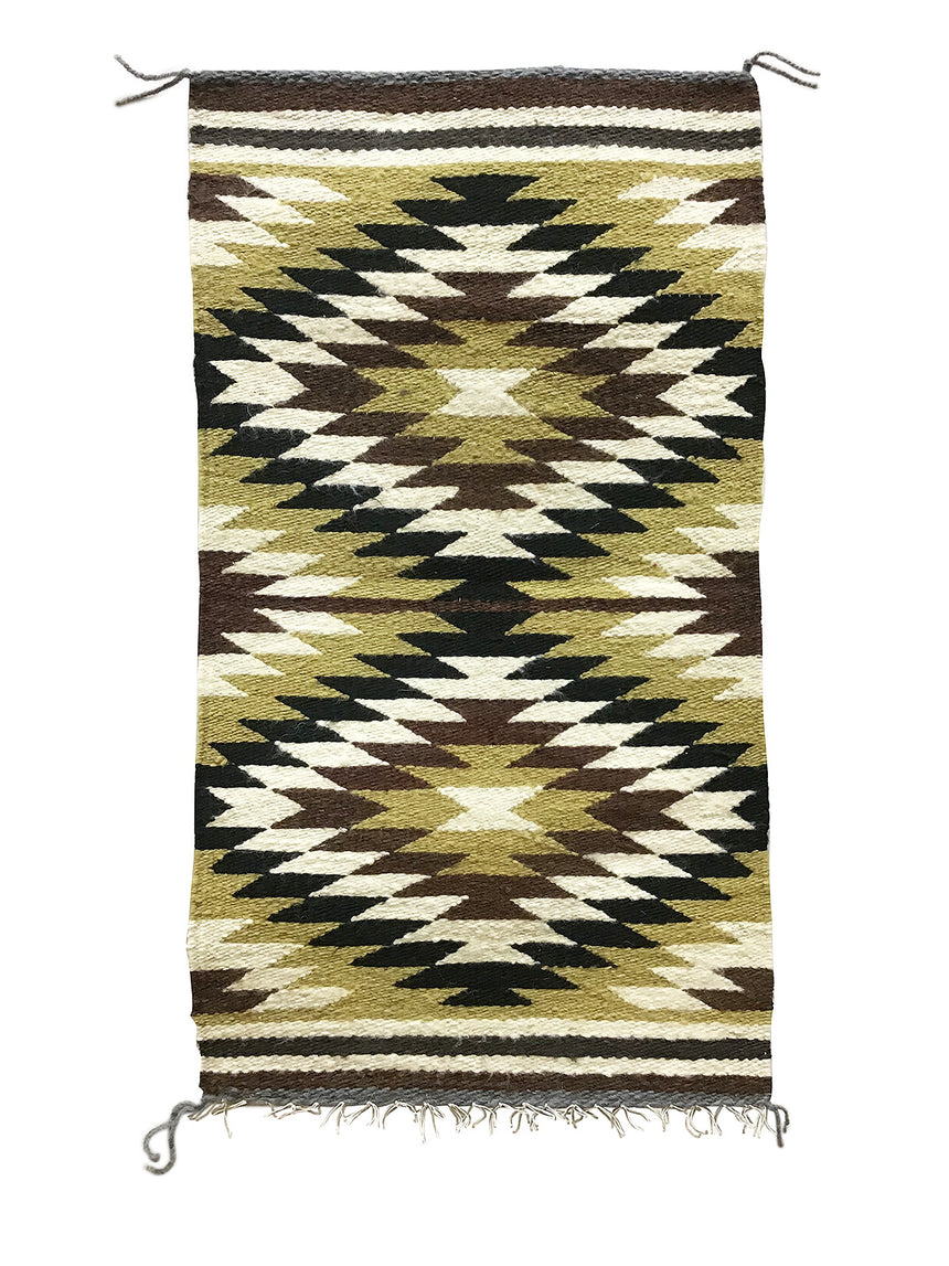 "Sammy Jones, Gallup Throw Rug, Navajo Handwoven, Wool, Cotton, 36"" x 19 1/2"""