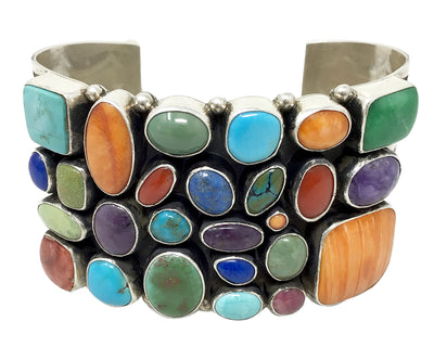 Load image into Gallery viewer, Dee Nez, Bracelet, Cluster, Spiny Oyster Shell, Lapis, Coral, Turquoise, 7""