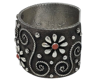 Load image into Gallery viewer, Ernest Rangel, Bracelet, Mediterranean Coral, Flower Power, Navajo Made, 6 5/8''