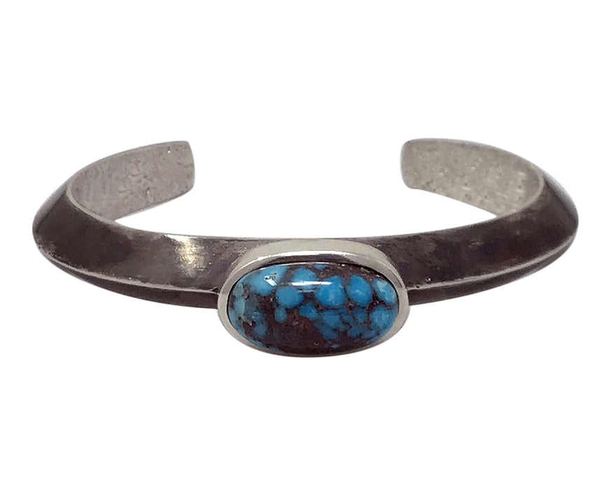 Kelsey Jimmie, Bracelet, Egyptian Turquoise, Triangle Wire, Navajo Made, 6 3/4