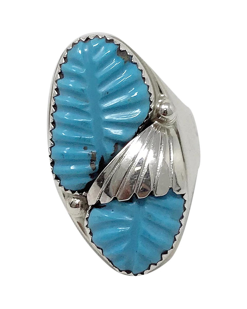 Lyolita Tsattie, Ring, Carved Sleeping Beauty Turquoise, Zuni Handmade, 12 1/2