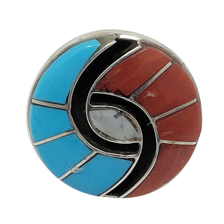Amy Quandelacy, Ring, Shell, Turquoise, Mediterranean Coral, Zuni Made, 5 ½