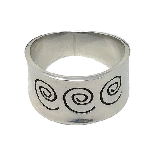 Norbert Peshlakai, Ring, The Journey, Tapered, Silver, Navajo Handmade, 7 3/4