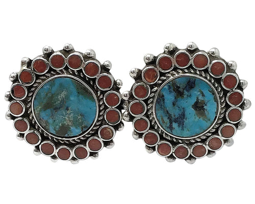 Vincent Shirley, Pierced Earrings, Turquoise, Coral Cluster, Navajo Made, 1 1/4
