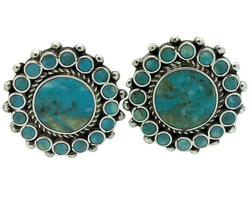 Vincent Shirley, Pierced Earrings, Kingman Turquoise, Navajo Handmade, 1 1/4