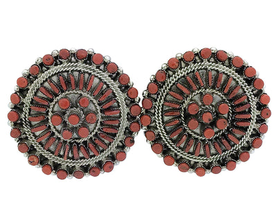 Load image into Gallery viewer, Eva Wyaco, Earrings, Mediterranean Coral, Cluster, Silver, Zuni Handmade, 1 3/4""