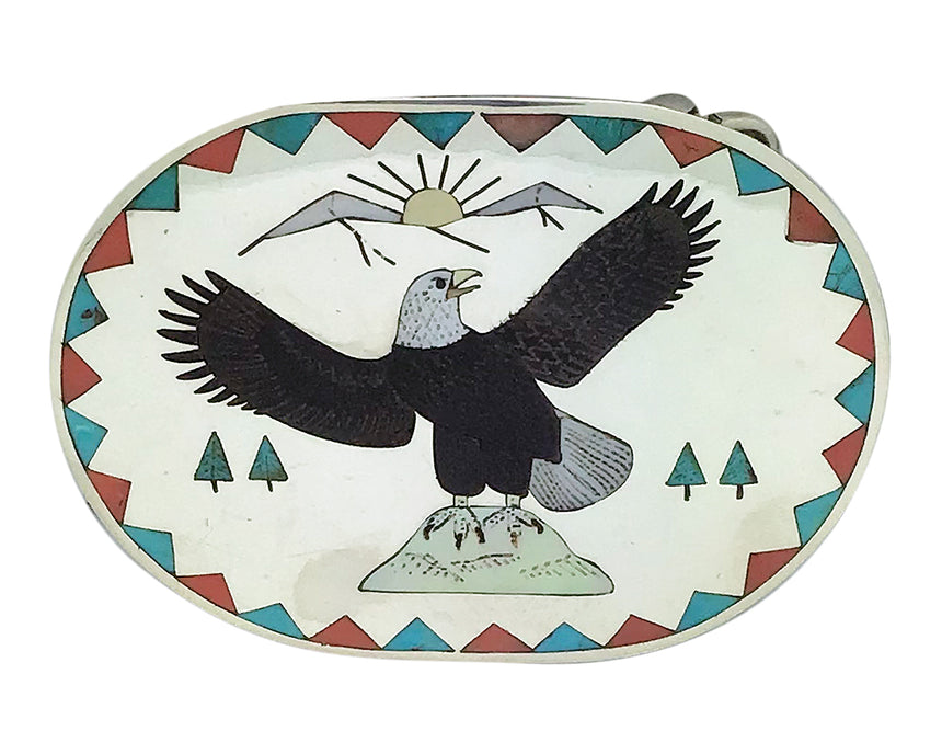 Ruddell, Nancy Laconsello, Buckle, Bald Eagle, Zuni Handmade, Circa 1980s, 3