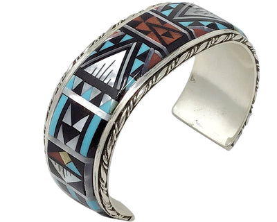 Load image into Gallery viewer, Sylvester Boone, Bracelet, Multi Stone Inlay, Mosaic Design, Zuni Handmade, 7""
