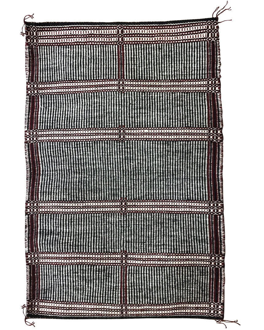 "Rosabell Nez, Two Face Blanket, Navajo Handwoven, 39"" x 26"""