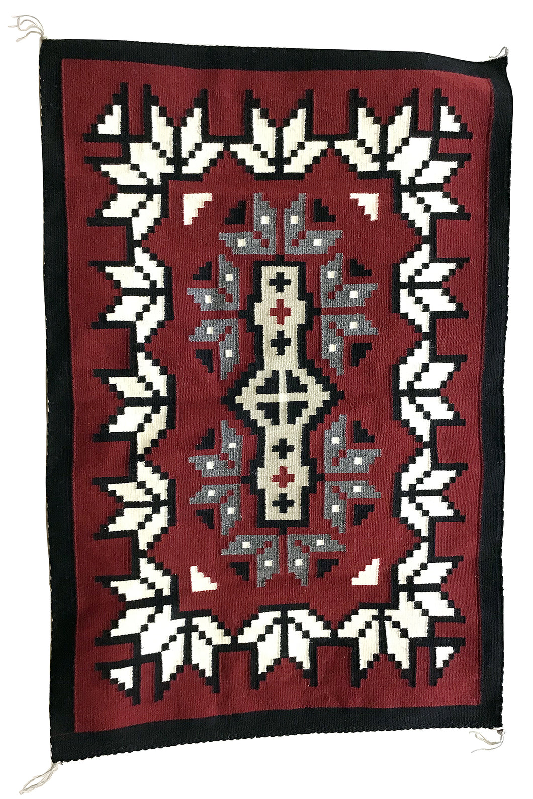"Linda Joe, Ganado Red, Snowflakes, Single Diamond, Navajo Rug, 49"" x 32"""