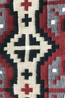 "Load image into Gallery viewer, Linda Joe, Ganado Red, Snowflakes, Single Diamond, Navajo Rug, 49"" x 32"""
