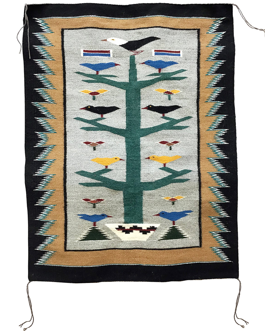 "Anna Grey, Tree of Life, Pictorial, Navajo Handwoven Rug, 47"" x 36"""