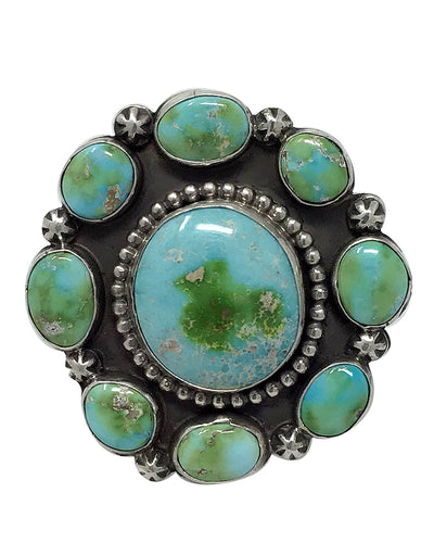 Joelias Draper, Ring, Cluster, Sonoran Gold Turquoise, Navajo Made, 8 1/2