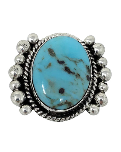 Fred Francis, Ring, Kingman Turquoise, Sterling Silver, Navajo Handmade, 9