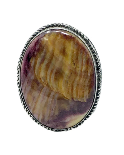 Leonard Maloney, Ring, Purple Spiny Oyster Shell, Oval, Navajo Handmade, 7 ½