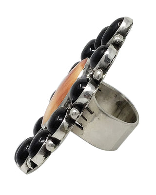 Load image into Gallery viewer, Joelias Draper, Ring, Cluster, Onyx, Spiny Oyster Shell, Navajo Handmade, 11 1/2