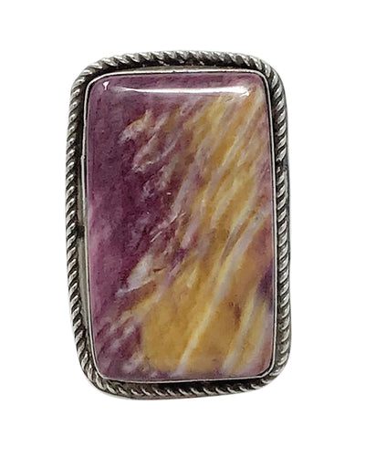 Leonard Maloney, Ring, Purple Spiny Oyster Shell, Rectangle, Navajo Made, 7 ¼