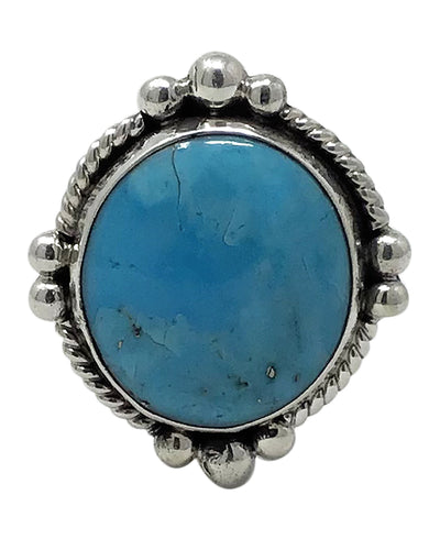 Fred Francis, Ring, Sonoran Rose Turquoise, Sterling Silver, Navajo Made, 8 1/2
