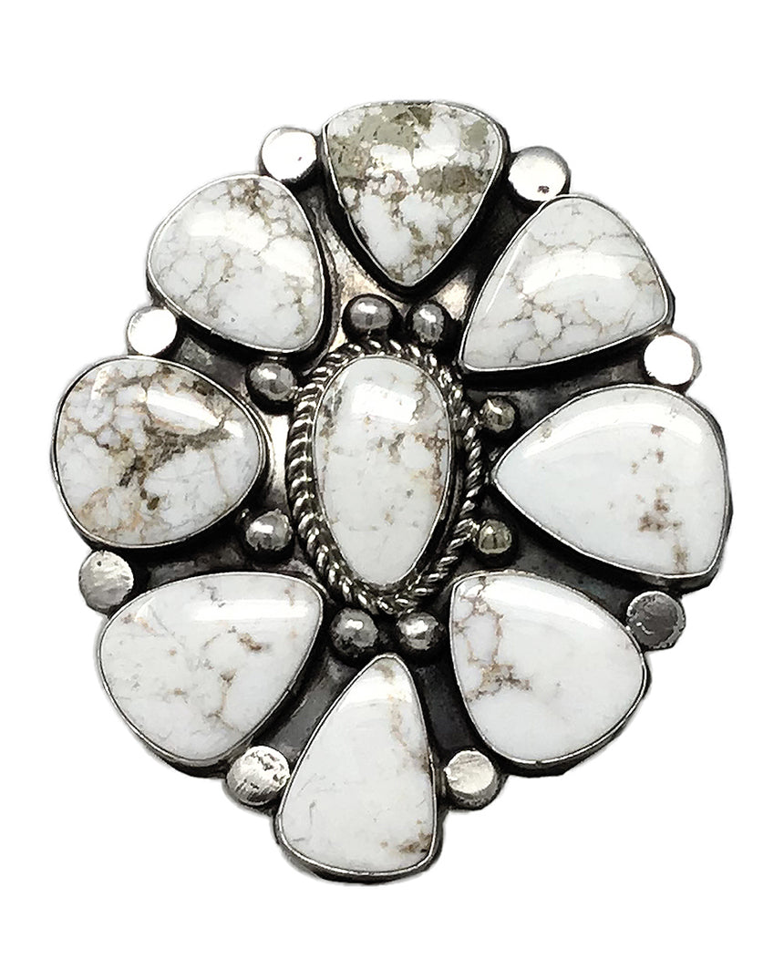 Joelias Draper, Ring, Cluster, Silver Creek, Sterling Silver, Navajo Made, 9 ½