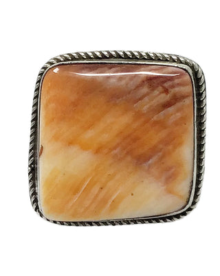 Load image into Gallery viewer, Leonard Maloney, Ring, Orange Spiny Oyster Shell, Square, Navajo Handmade, 8