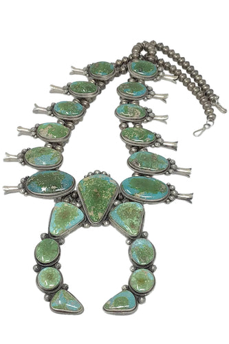Freddie Maloney, Squash Blossom Necklace, Sonoran Turquoise, Navajo, 16 1/2