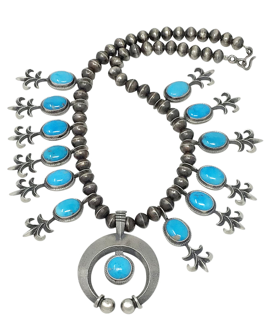 Aaron Anderson, Necklace, Kingman Turquoise, Tufa Casting, Carving, Navajo, 12