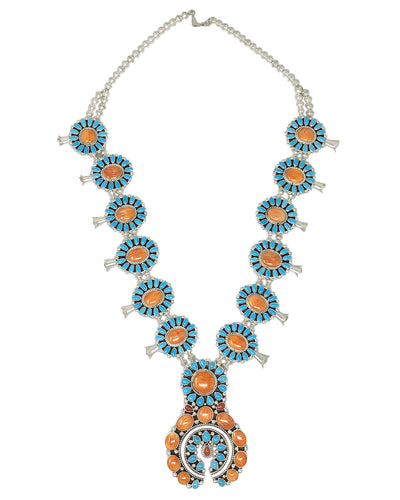 Melvin, Tiffany Jones, Squash Blossom Necklace, Cluster, Colorful, Navajo, 19