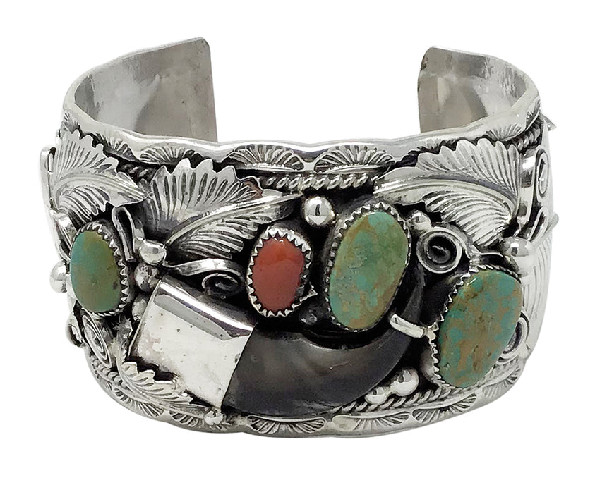 Mike Thomas, Bracelet, Bear Claw, Turquoise, Coral, Navajo Handmade, 7 1/8