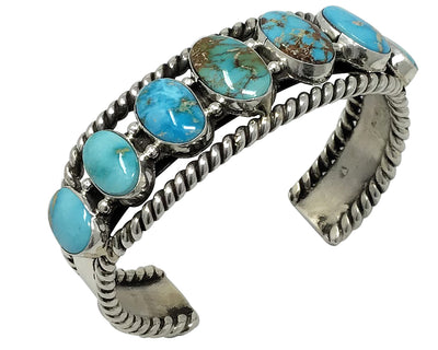 Load image into Gallery viewer, Joelias Draper, Row Bracelet, Turquoise Mountain, Silver, Navajo Made, 6 7/8""