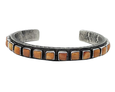 Load image into Gallery viewer, Ernest Rangel, Row Bracelet, Orange Spiny Oyster Shell, Navajo Handmade, 6 1/2""