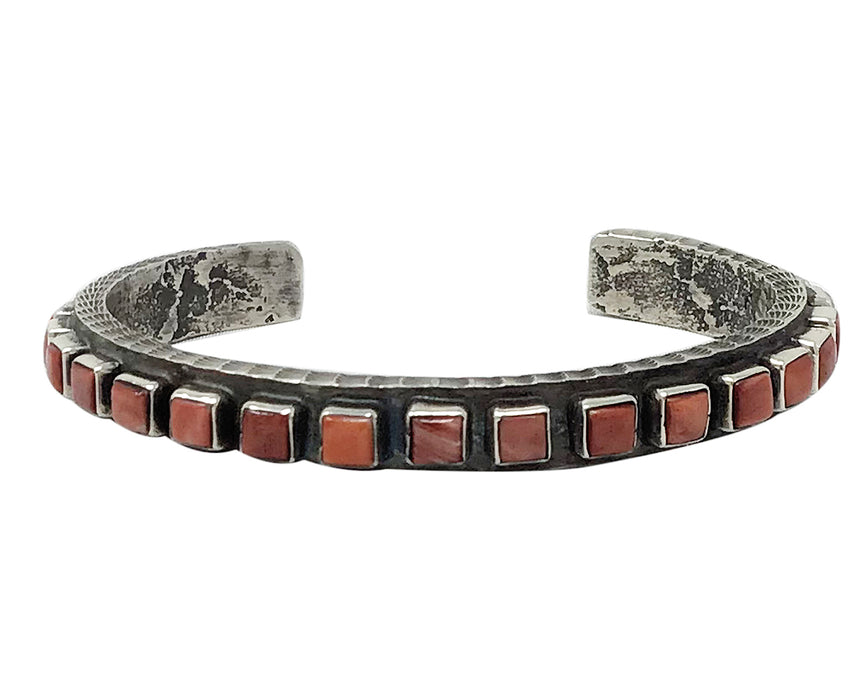 Ernest Rangel, Bracelet, Small Squares, Red Spiny Oyster Shell, Navajo 6 1/2