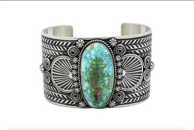 Load image into Gallery viewer, Darrell Cadman, Bracelet, Sonoran Gold Turquoise, Wide, Navajo Handmade, 7 1/4""