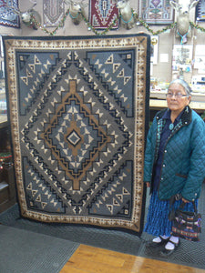 "Alice Whitewater, Two Grey Hills, Rug, Navajo, Handwoven, 52"" x 71"""