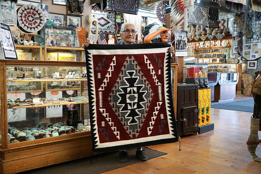 Cleo Johnson, Ganado Red, Black, White, Rug, Navajo, Handmade, 44