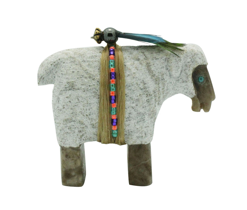 Harold Davidson, Sheep Fetish, Alabaster, Gray, Navajo Made, 2.5