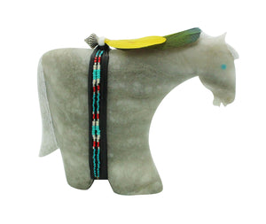 Harold Davidson, Horse Fetish, Alabaster, Gray, Navajo Made, 4""