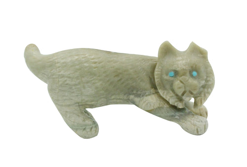 Wilfred Cheama, Bobcat, Fetish, Picasso Marble, Turquoise, Zuni, 1.25