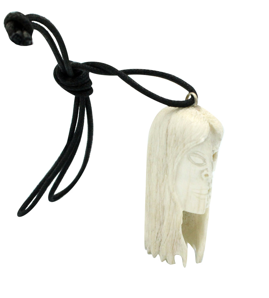 Esteban Najera, Two Face, Woman, Skull, Deer Antler, Fetish, Zuni Handmade, 2.25