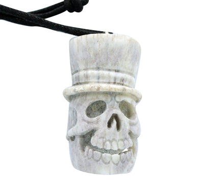Load image into Gallery viewer, Esteban Najera, Top Hat Skeleton, Deer Antler, Fetish, Zuni Handmade, 2""