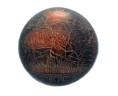 Load image into Gallery viewer, Dean Haunsooah, Pottery, Buffalo, Sunrise, Handcoiled, Etched, Santa Clara, 2.75