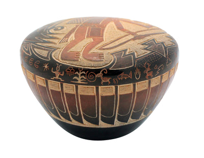 Load image into Gallery viewer, Dean Haunsooah, Pottery, Bow Hunter, Petroglyph, Handcoiled, Etched, Santa Clara, 2