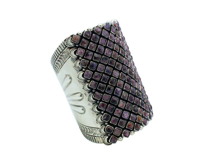 Load image into Gallery viewer, Alice Lister, Bracelet, Purple Charoite, Sterling Silver, Navajo Handmade, 6.25