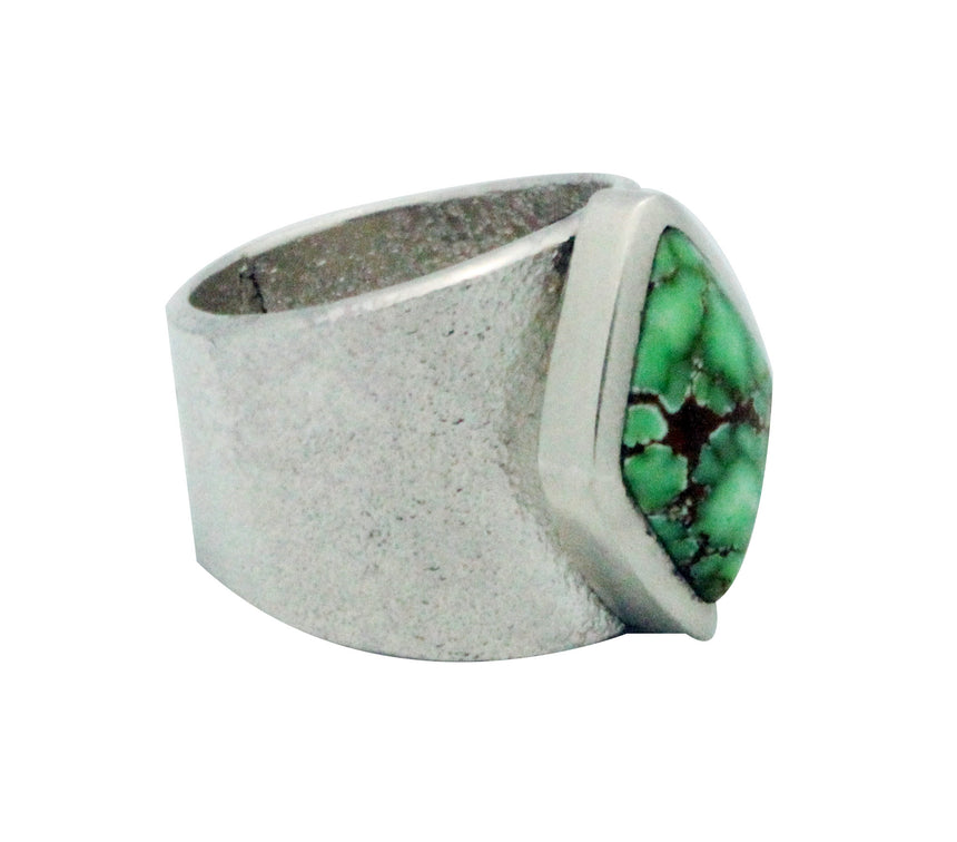 Darryl Dean Begay, Tufa Cast Ring, Carico Lake Turquoise, Navajo Made, 9