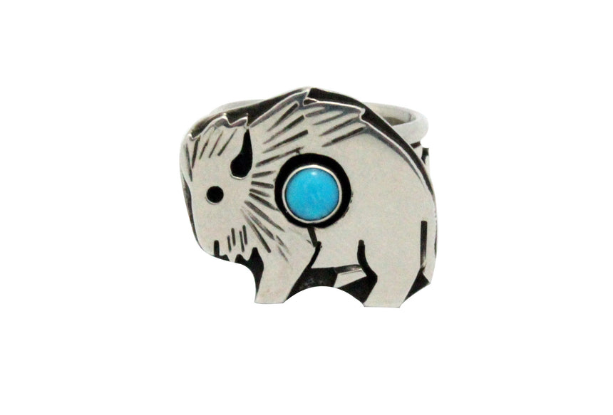 Aaron John, Ring, Turquoise, Buffalo, Sterling Silver, Navajo Handmade, 6.5