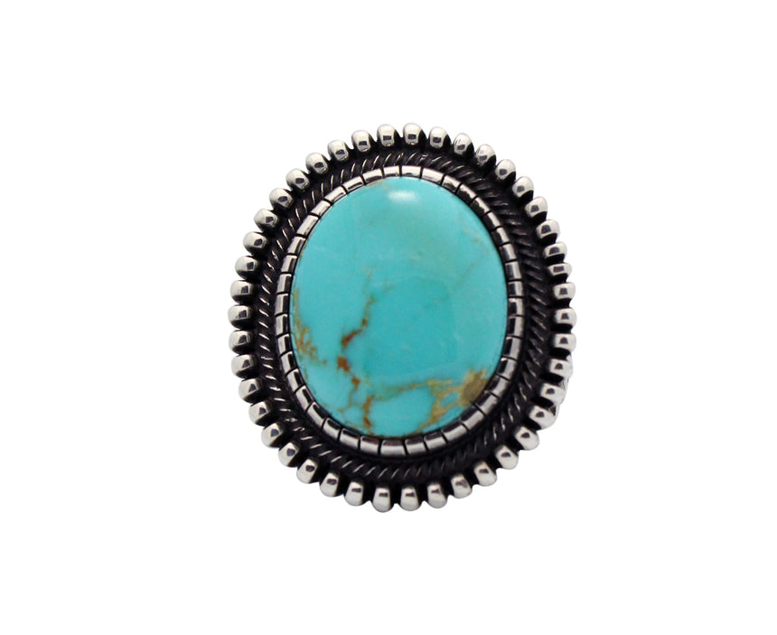 Terry Martinez, Ring, Blue Gem Turquoise, Sterling Silver, Navajo Handmade, 11.5