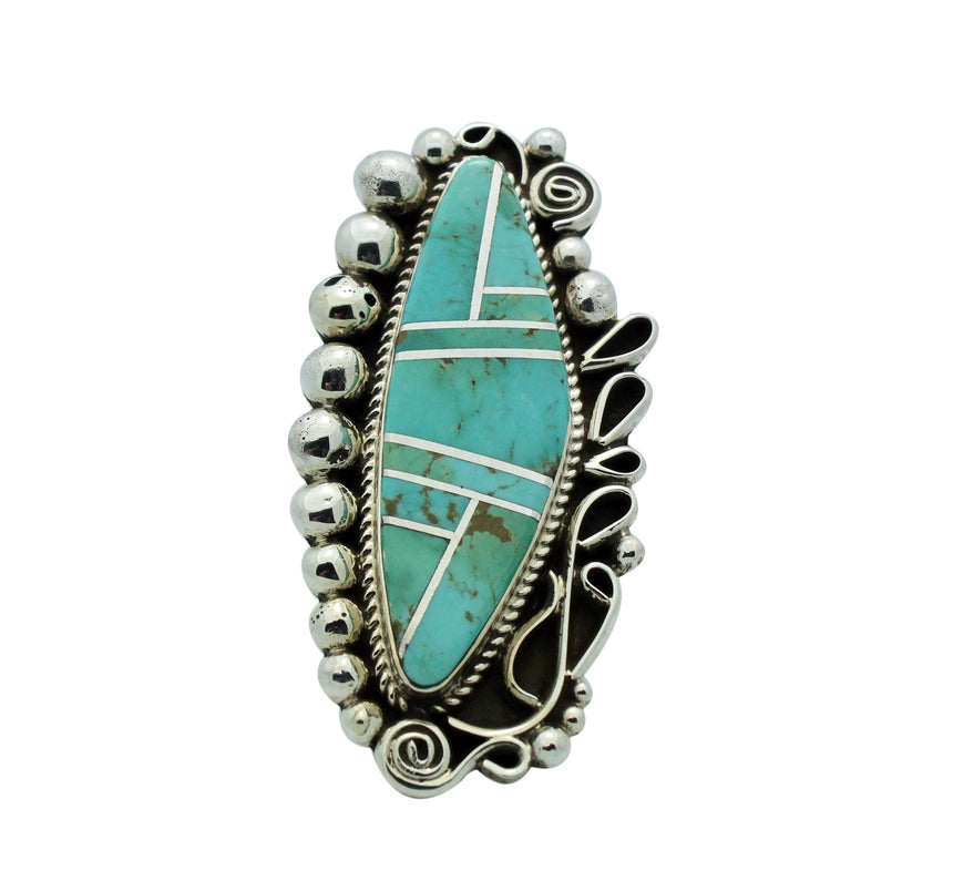 Ray Nez, Ring, Turquoise Mountain, Inlay, Sterling Silver, Navajo Made, 7